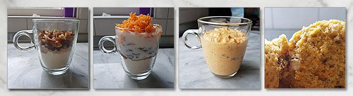 worteltjestaart mugcake stap voor stap
