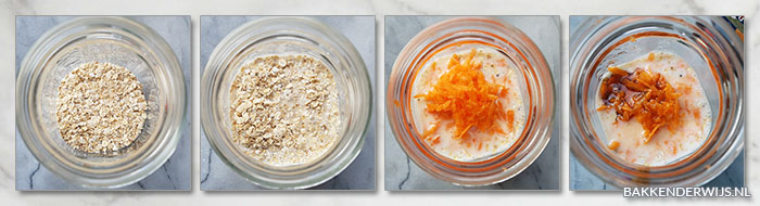 Worteltjestaart overnight oats stap voor stap recept