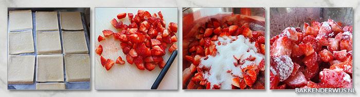 aardbeien bladerdeeg hapjes stap voor stap recept