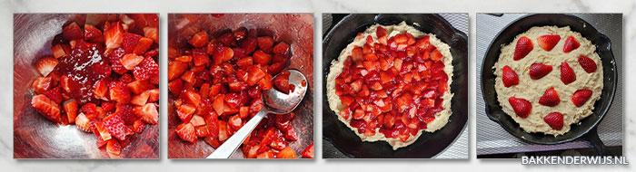 aardbeien skillet cake stap voor stap recept