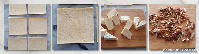 Pecannoten met brie bladerdeeghapjes stap voor stap recept