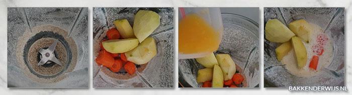 wortel appel havermout stap voor stap smoothie