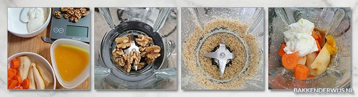 Wortel peer walnoten smoothie stap voor stap recept